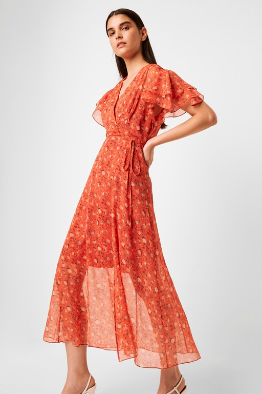 esi crinkle midi tea dress