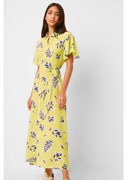 Andini Drape Printed Midi Shirt Dress