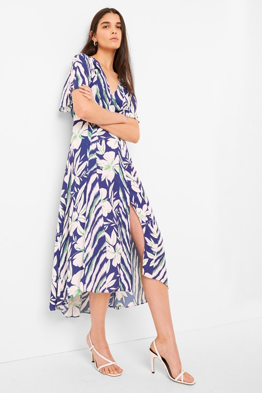 diah crepe faux wrap belted dress
