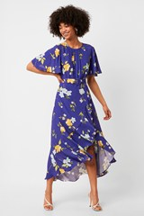 Emina Drape Cascade Hem Belted Dress