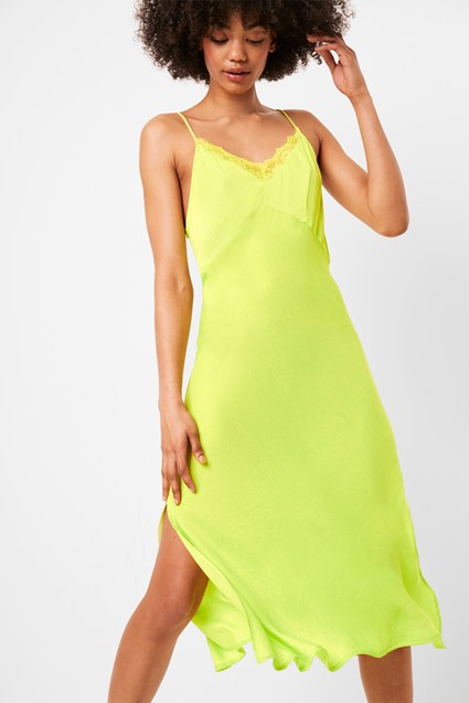 Andela Satin Neon Lace Trim Slip Dress