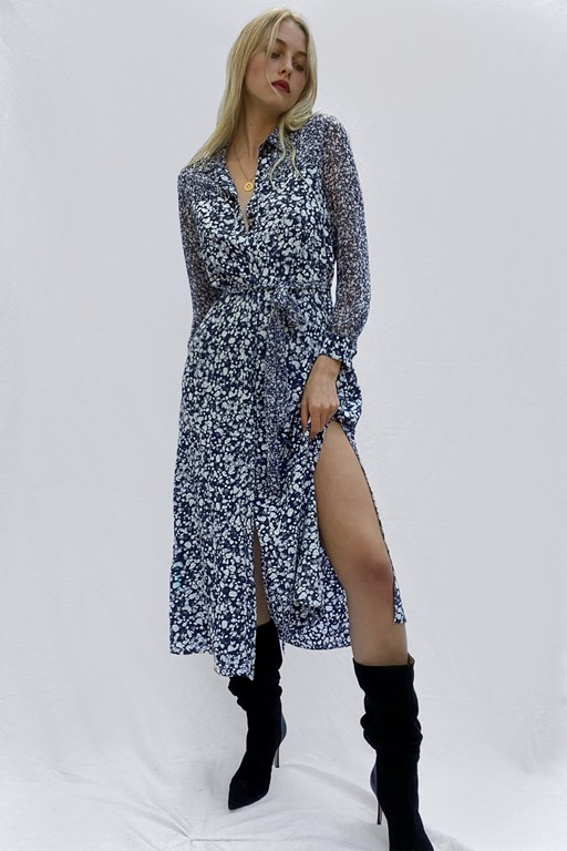 areita drape printed shirt dress