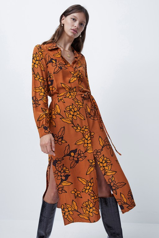 cefara drape printed shirt dress