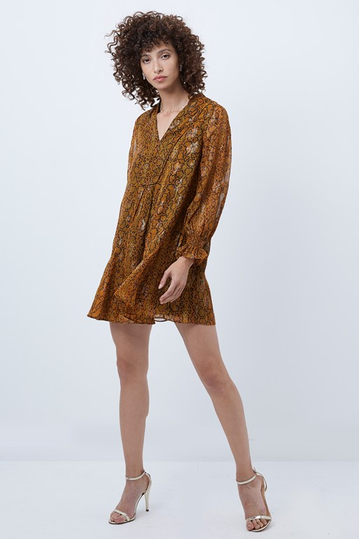 desta snake jacquard smock dress
