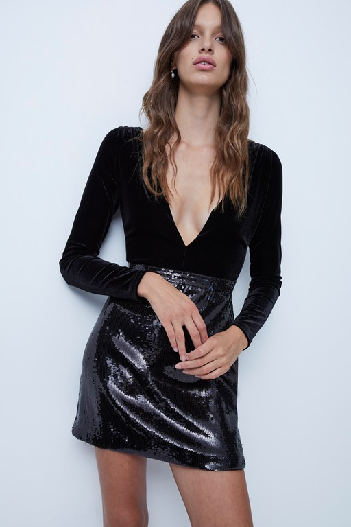 ciara embellished velvet plunge sequin dress