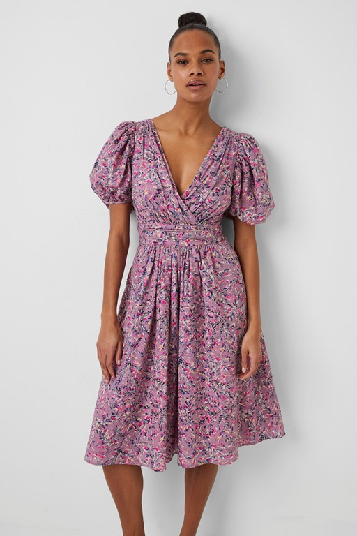 flores cotton v neck midi dress