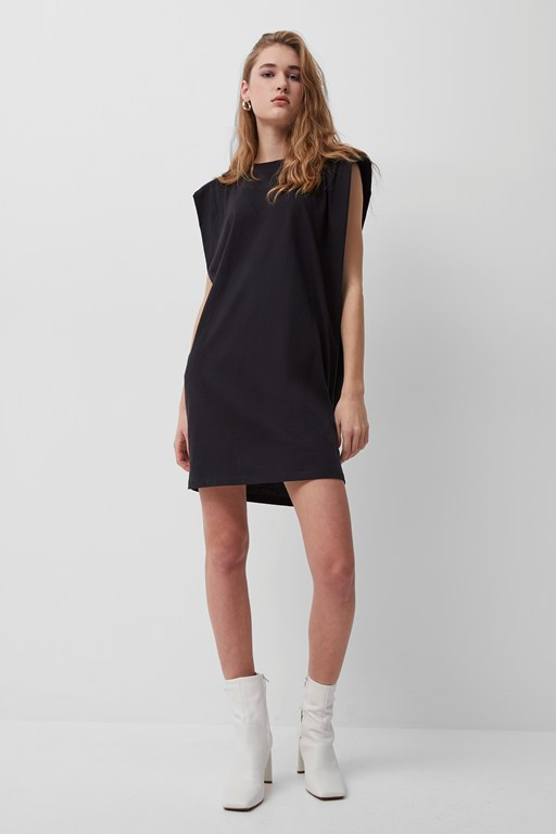 shoulder pad jersey dress