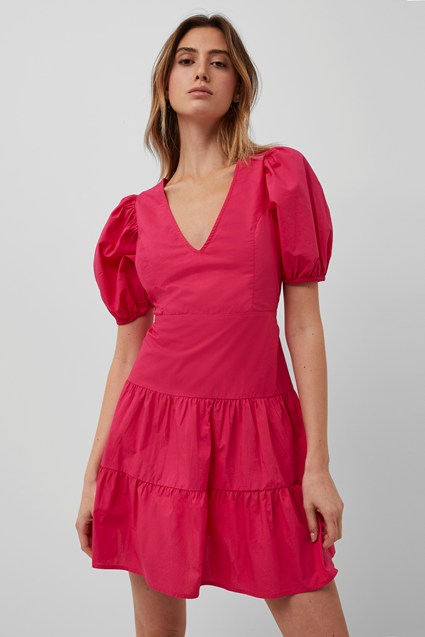BIRCH POPLIN PUFF SLEEVE DRESS