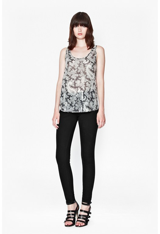 Paisley Party Sequinned Vest Top