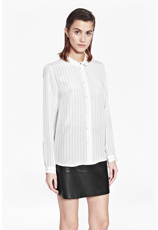 Letter Pinstriped Silk Shirt