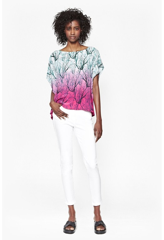 Sea Fern Silk Oversized Top