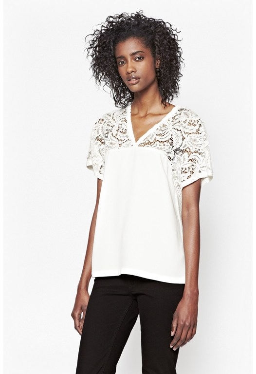 Aro Crepe Lace Trim Top