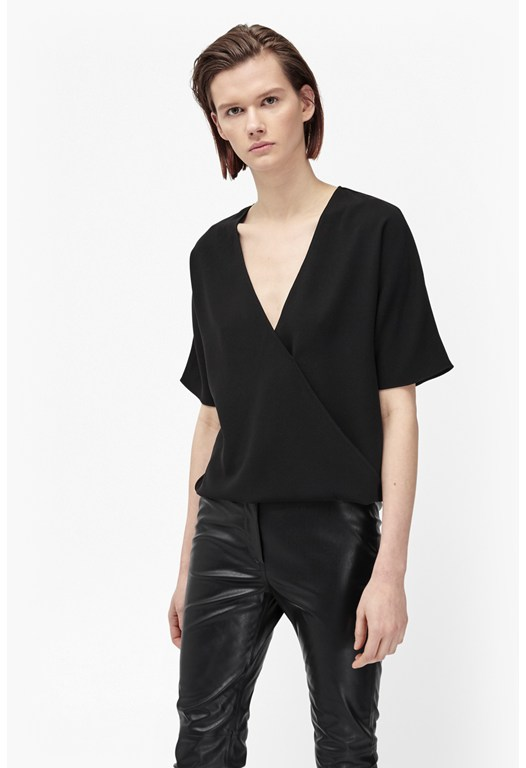 Aro Crepe Wrapover Top