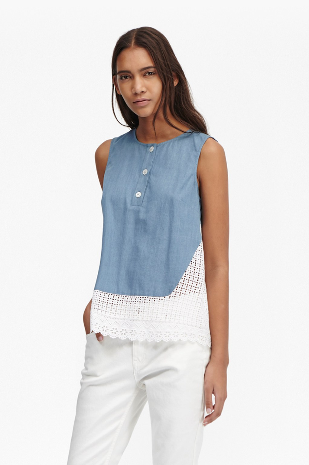 Holiday Lace Chambray Top