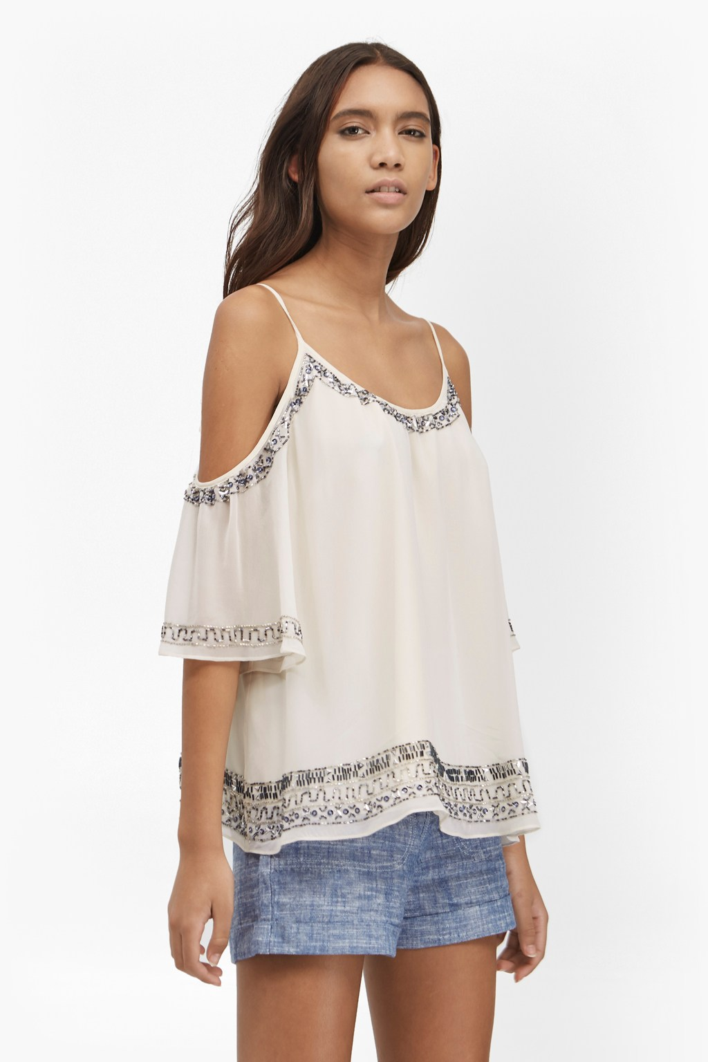 Island Maze Embellished Cold Shoulder Top