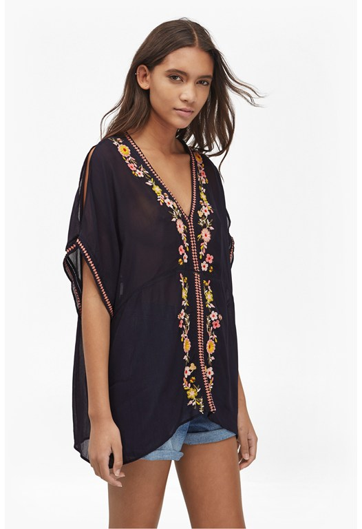 Sunshine Bloom Embroidered Top