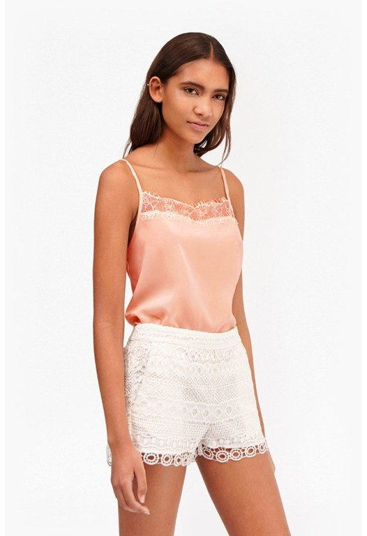 Polly Plains Lace Trim Cami Top