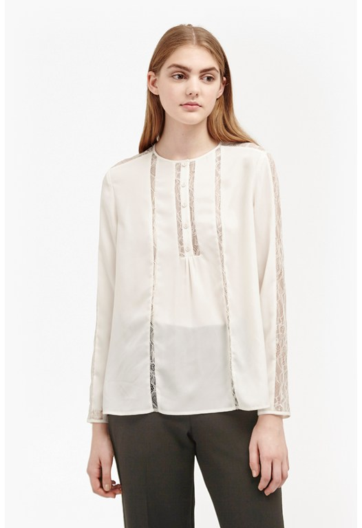 Polly Plains Lace Insert Blouse