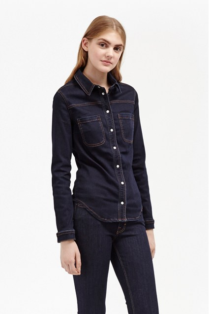 Indigo Snug Fit Denim Western Shirt