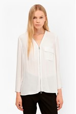 Looks Great With Belle Crepe Zip Up Blouse
