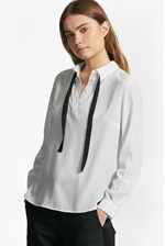 Looks Great With Polly Plains Tie Neck Shirt