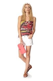 Zig Zag Floral Draped Top