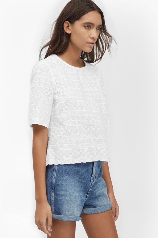 bixa broderie scallop trim top