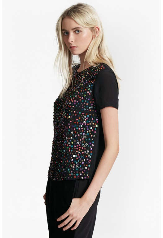 Rainbow Jewel Embellished Top