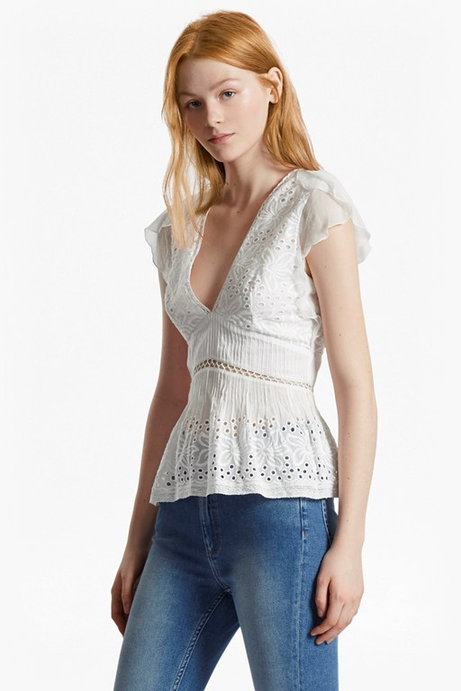 hesse embroidered v neck top