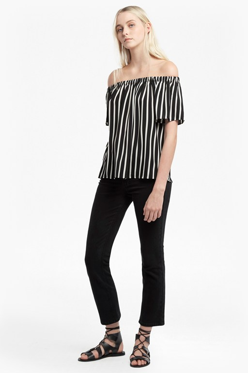 stripe crepe lightweight top