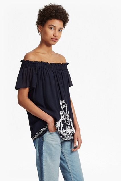 Kiko Stitch Off The Shoulder Top