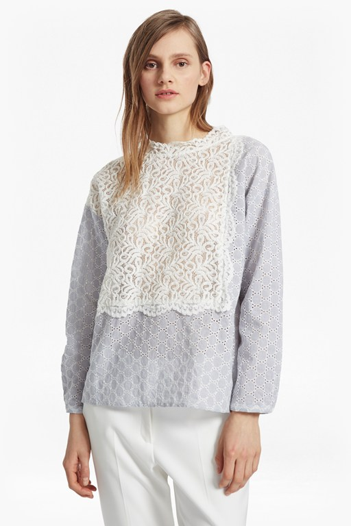 oni lace mix shirt