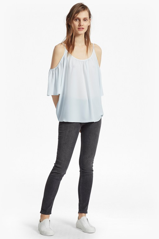 crepe light cold shoulder top