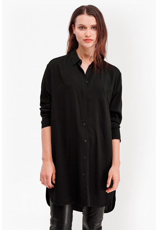 Embroidery Dot Longline Shirt
