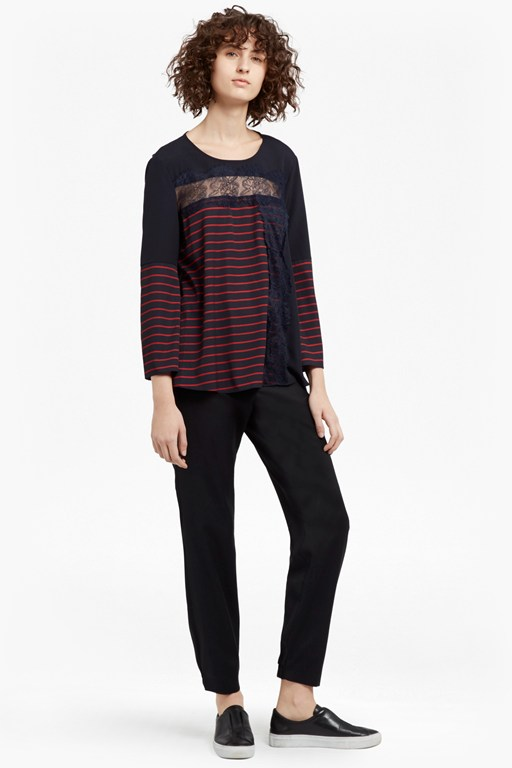 Complete the Look Isabella Light Striped Crepe Top