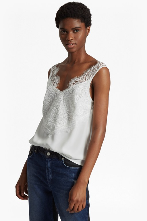 classic light crepe lace v neck top