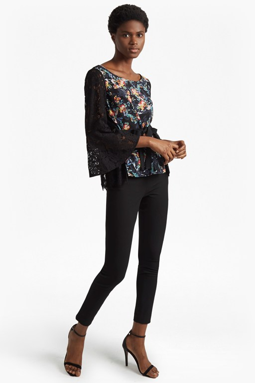 delphine crepe light bell sleeve top
