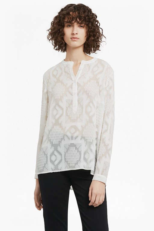 Complete the Look Edna Fil de Coupe Collarless Shirt