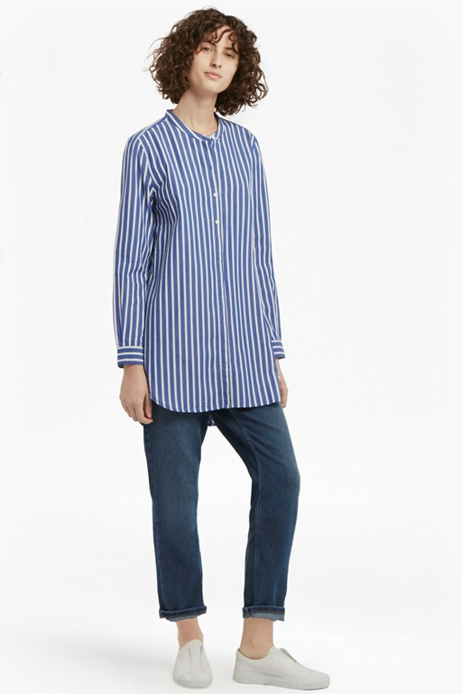 Complete the Look Sophia Striped Pop Over Longline Shirt