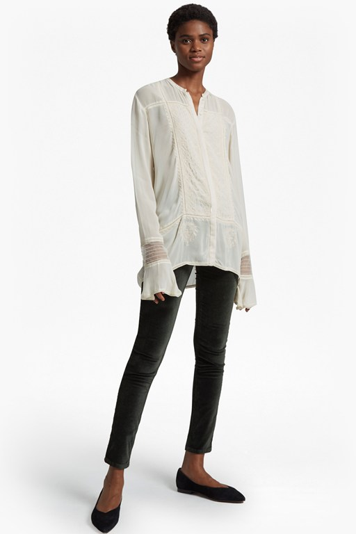 Complete the Look Hillary Sheer Collarless Shirt