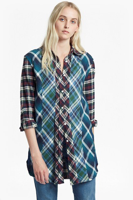 Patchwork Flannel Checked Shirt