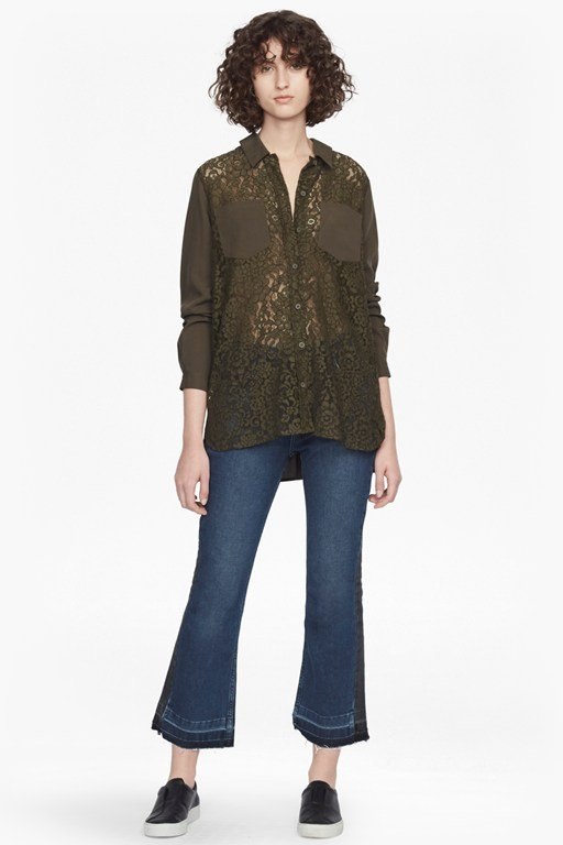 marian lace mix long sleeved shirt