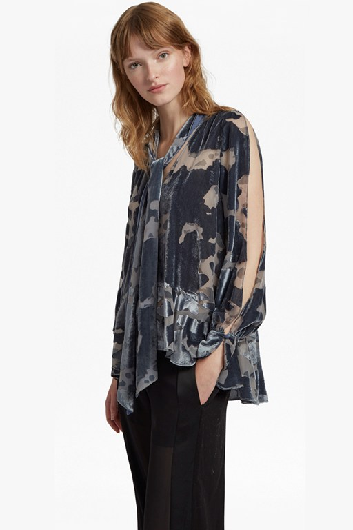 brigitte devoré velvet tie neck flared top