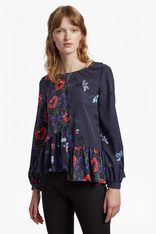 lisette crepe round neck floral top