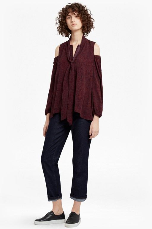 Complete the Look Callie Crepe Cold Shoulder Blouse