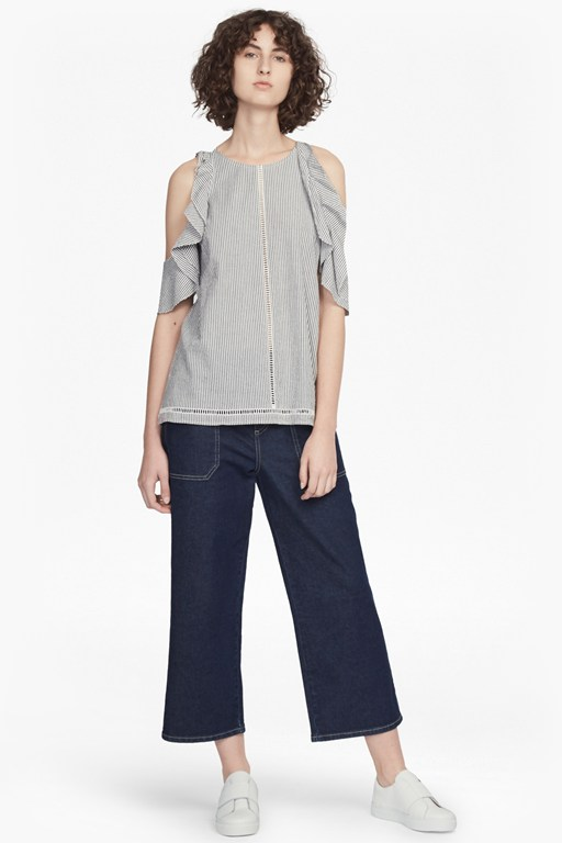 Complete the Look Clea Cotton Cold Shoulder Ruffle Top