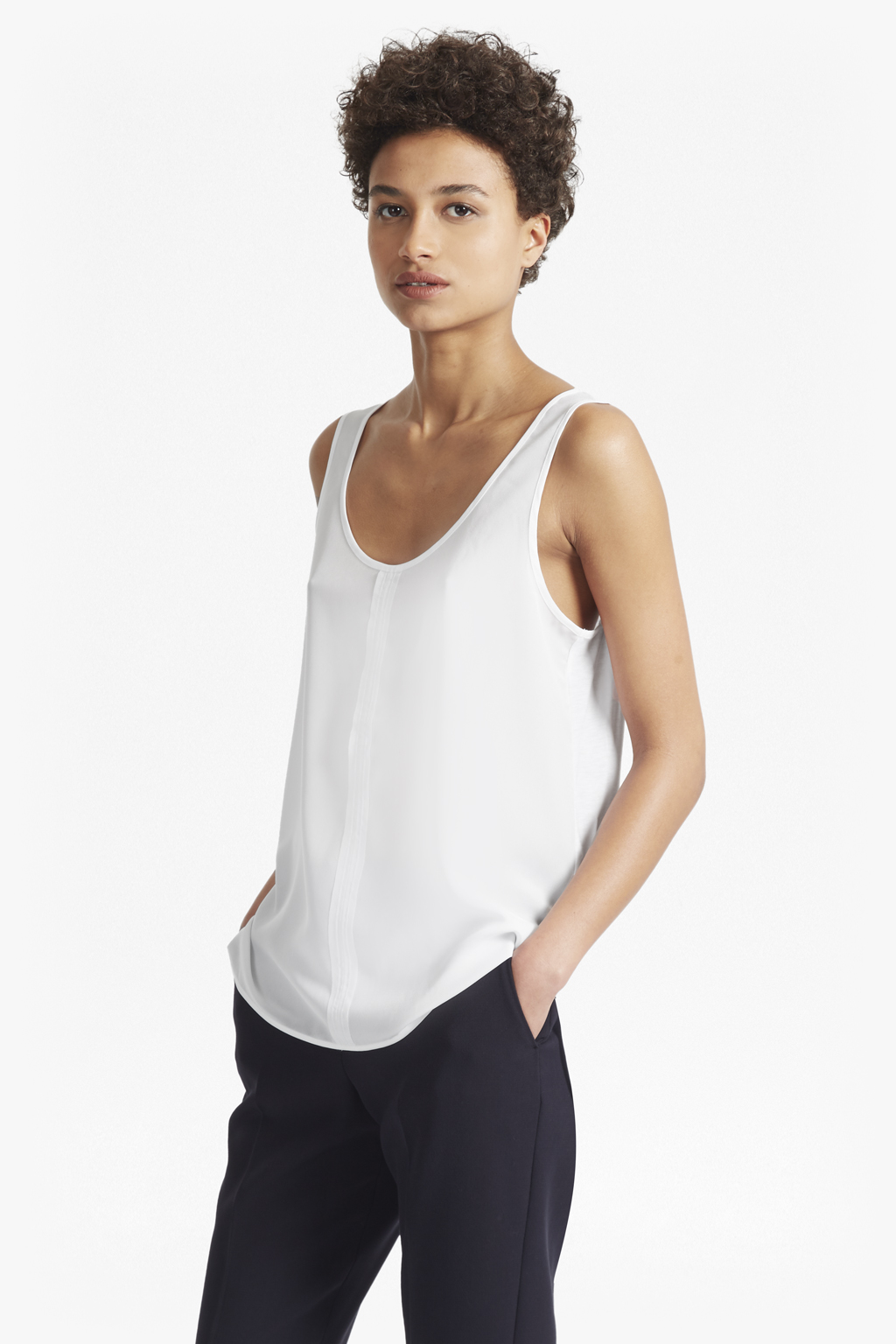 Womens French Connection Crepe Light Jersey Sleeveless Top In Black