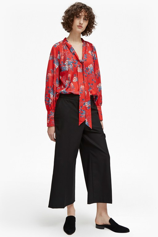 kioa crepe tie neck top