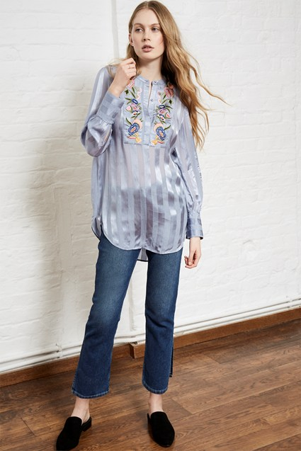 Katalina Embroidered Stripe Top