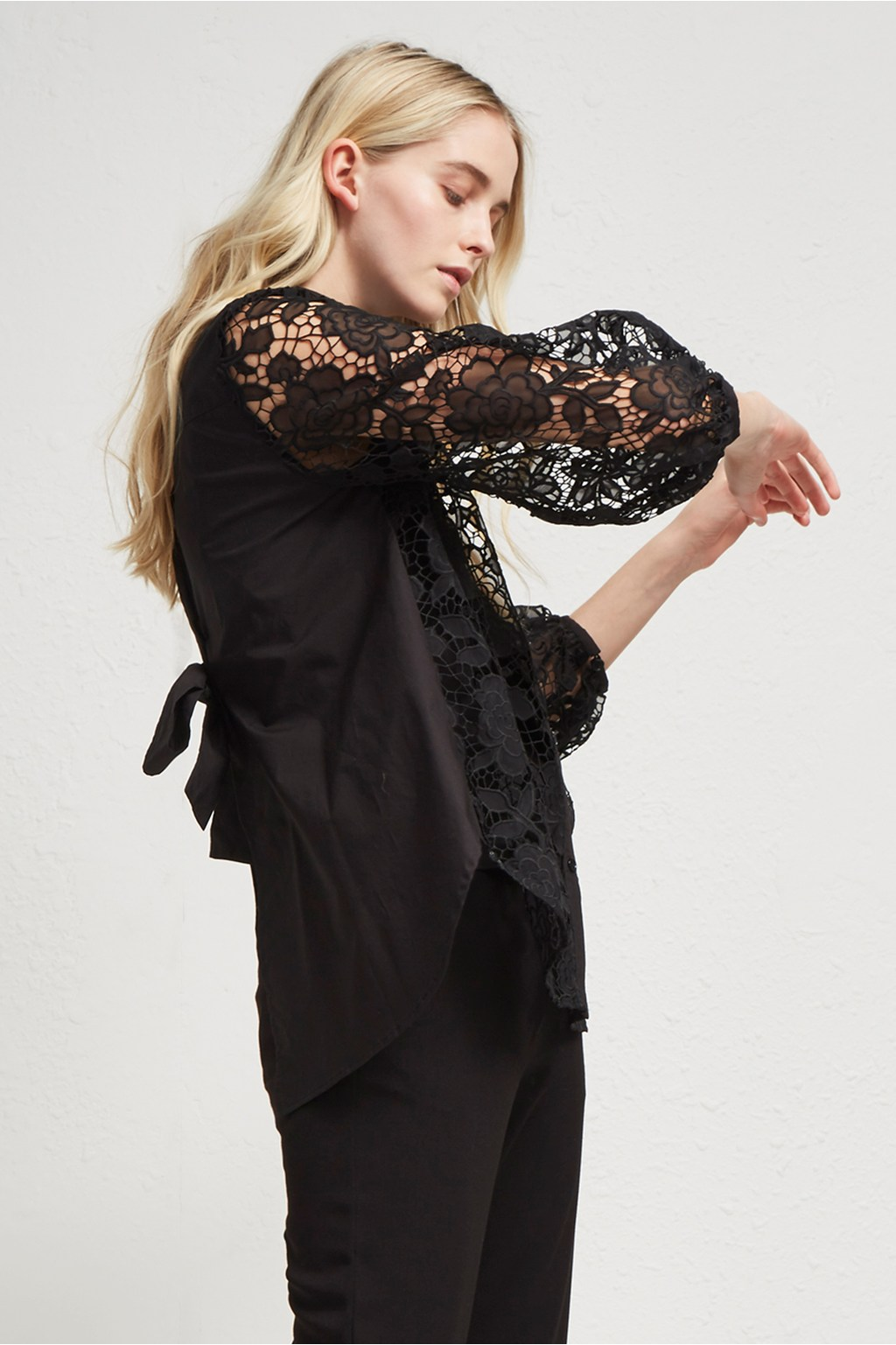 a001d95778cd88 Chania Lace Puff Sleeve Shirt | Sale | French Connection Usa